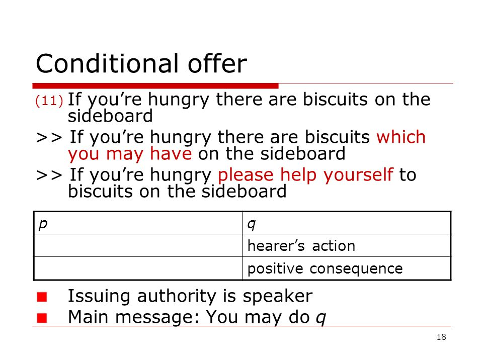 Conditional offer If you're hungry there are biscuits on the sideboard