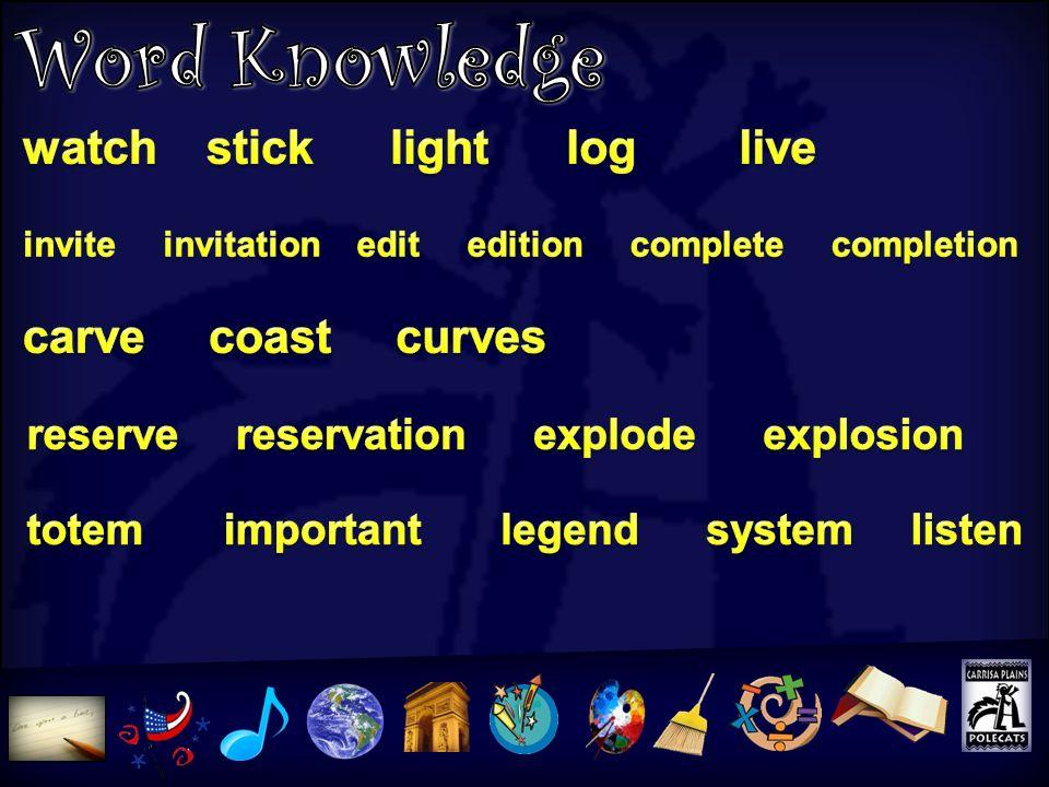 Word Knowledge watch stick light log live carve coast curves