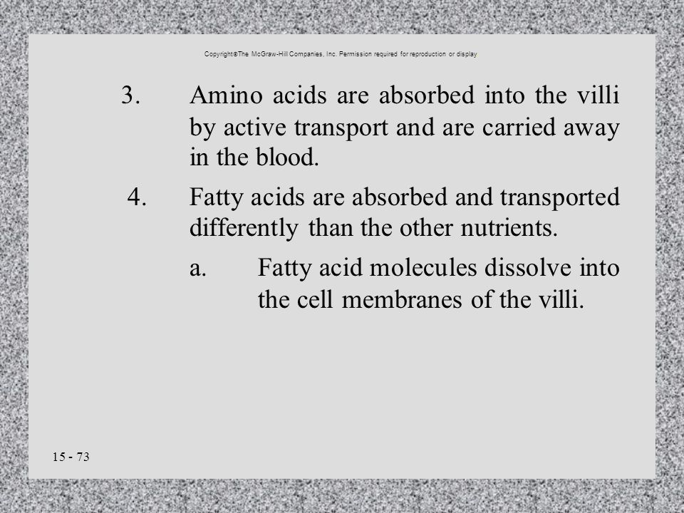 a. Fatty acid molecules dissolve into the cell membranes of the villi.
