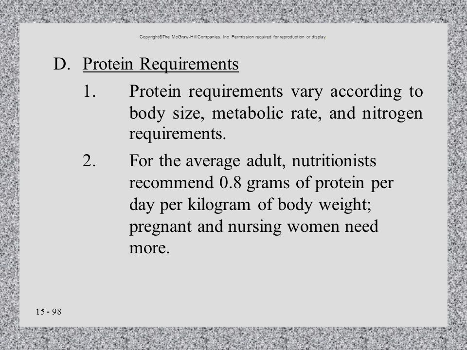 D. Protein Requirements