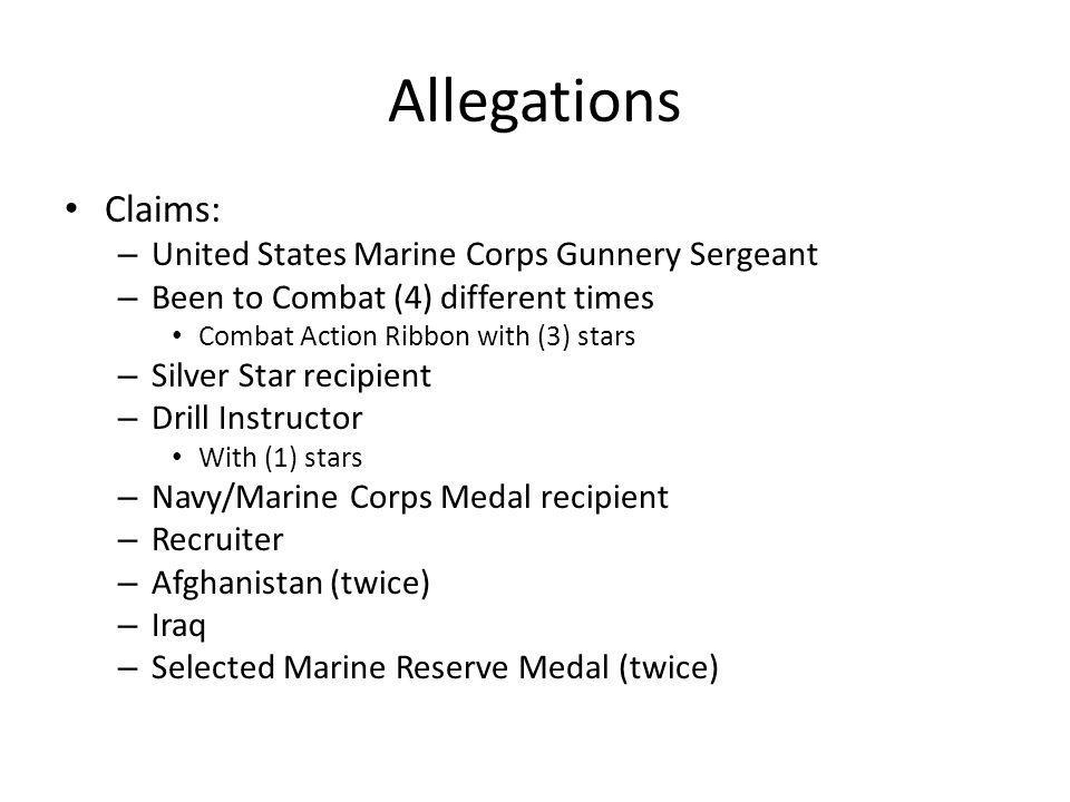 Allegations Claims: United States Marine Corps Gunnery Sergeant