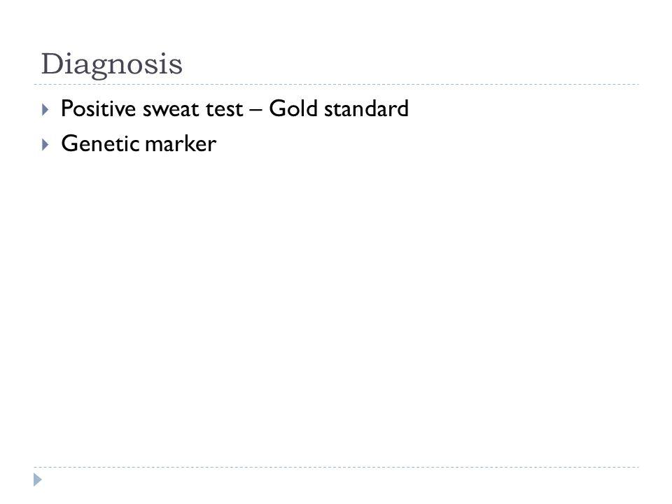 Diagnosis Positive sweat test – Gold standard Genetic marker