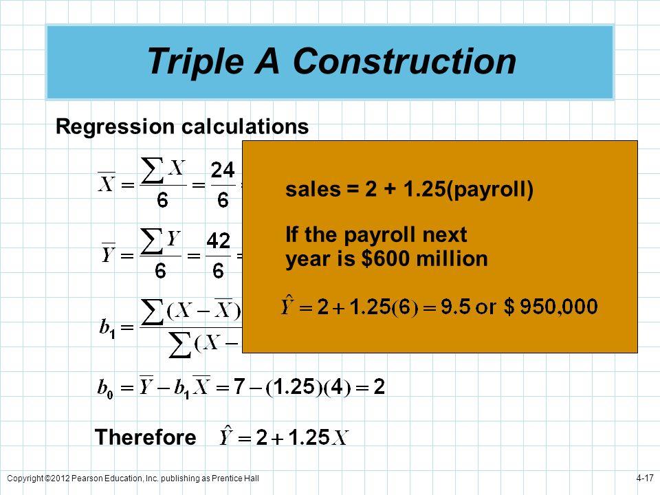 Triple A Construction Regression calculations