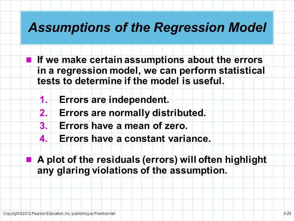 Assumptions of the Regression Model