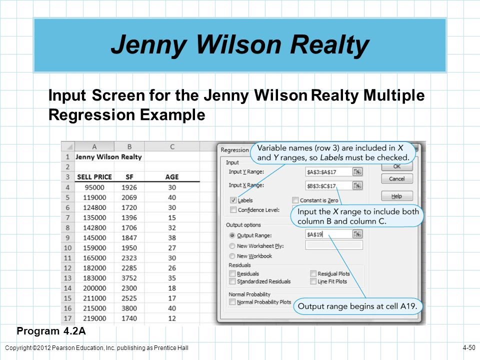 Jenny Wilson Realty Input Screen for the Jenny Wilson Realty Multiple Regression Example. Program 4.2A.