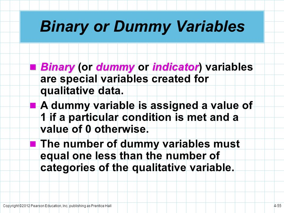 Binary or Dummy Variables