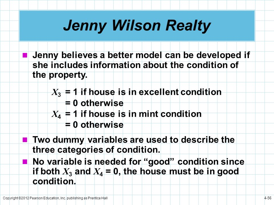 Jenny Wilson Realty Jenny believes a better model can be developed if she includes information about the condition of the property.
