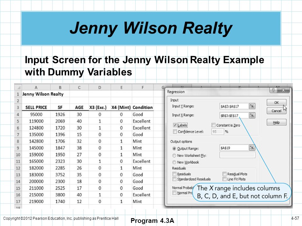 Jenny Wilson Realty Input Screen for the Jenny Wilson Realty Example with Dummy Variables.