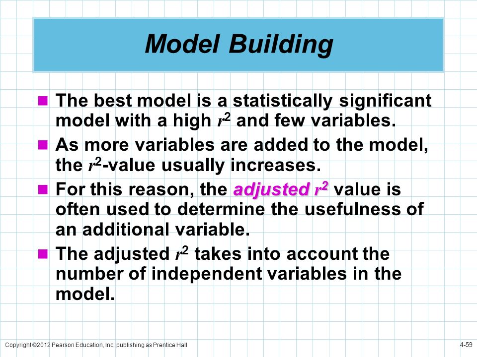 Model Building The best model is a statistically significant model with a high r2 and few variables.