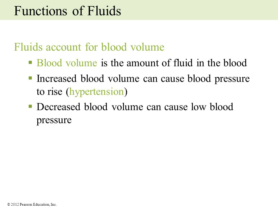 Functions of Fluids Fluids account for blood volume