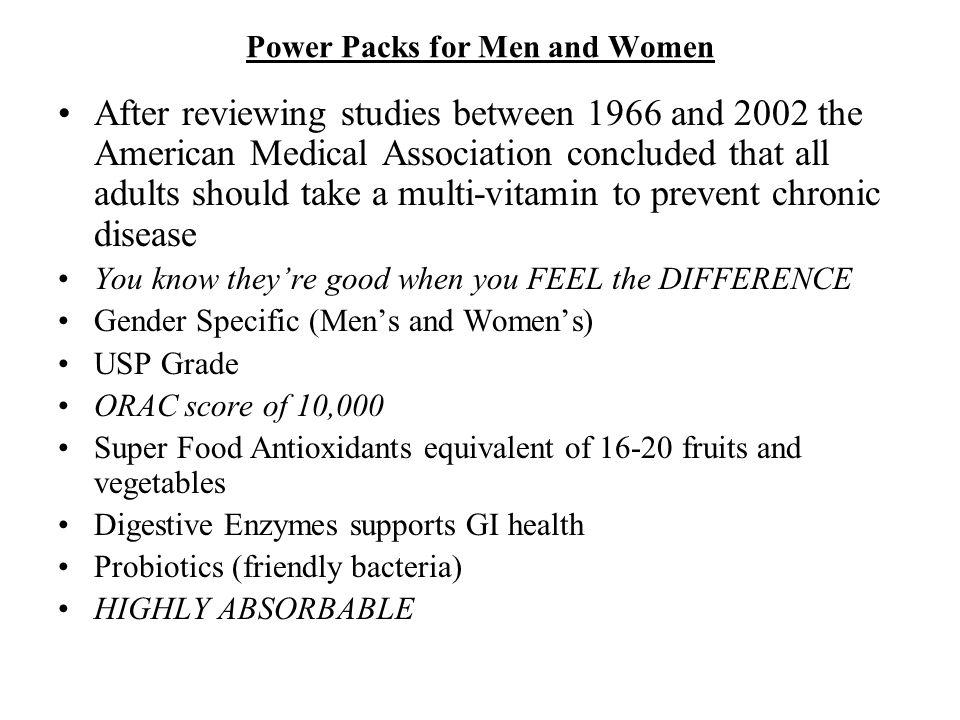 Power Packs for Men and Women