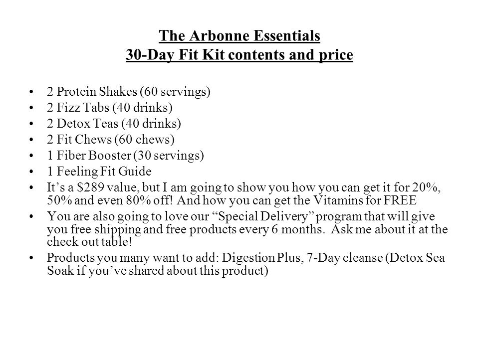 The Arbonne Essentials 30-Day Fit Kit contents and price