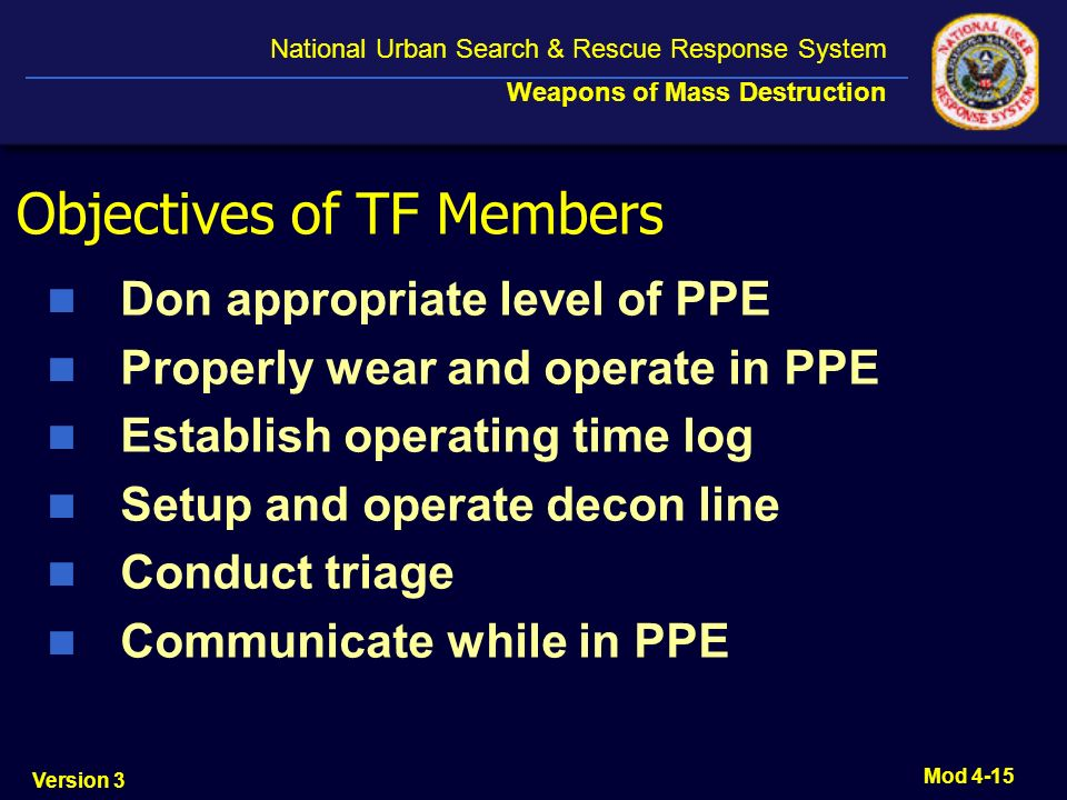 Objectives of TF Members