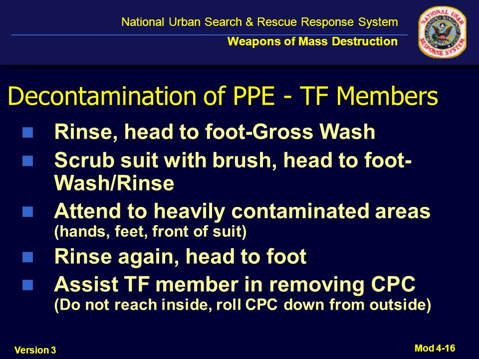 Decontamination of PPE - TF Members