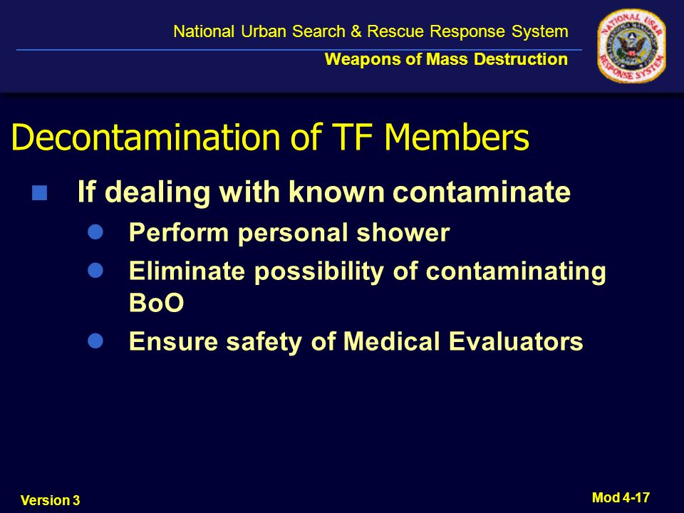 Decontamination of TF Members