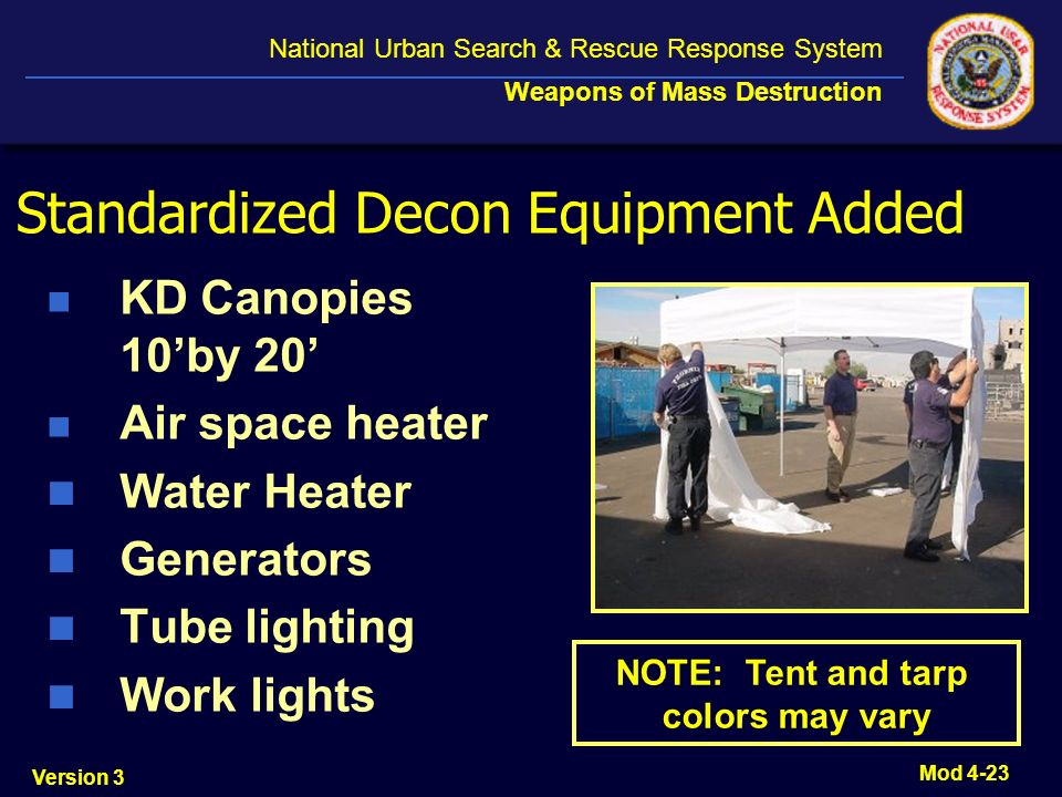 Standardized Decon Equipment Added