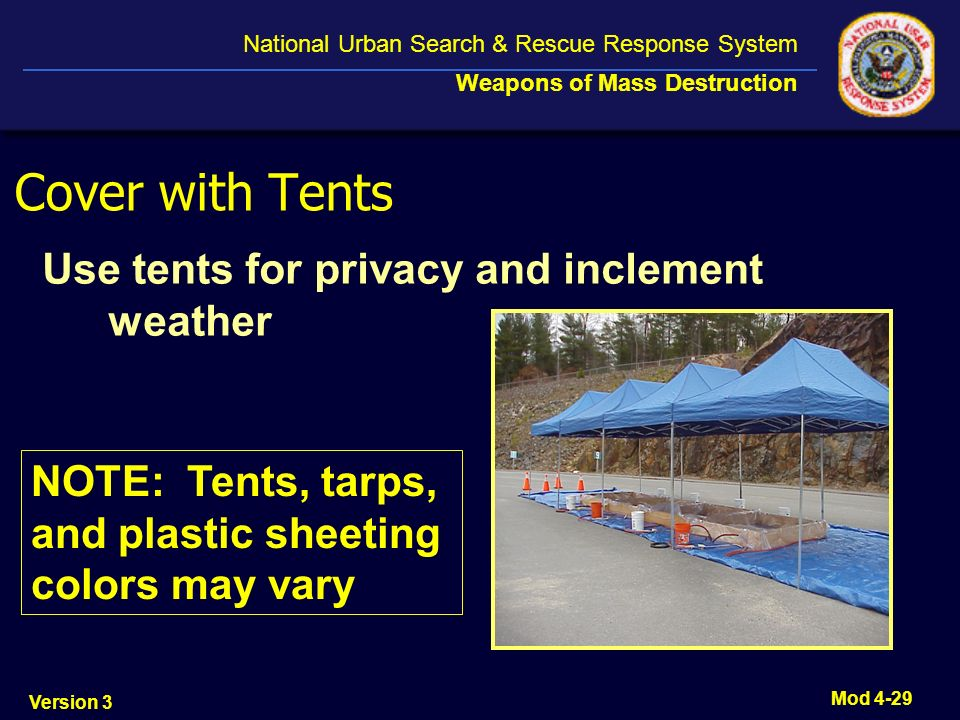 Cover with Tents Use tents for privacy and inclement weather