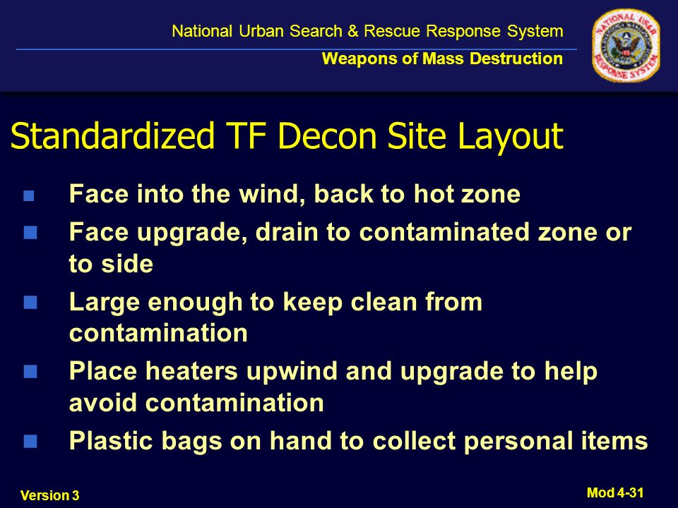 Standardized TF Decon Site Layout
