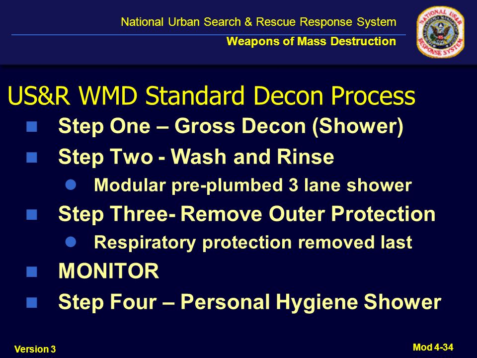 US&R WMD Standard Decon Process