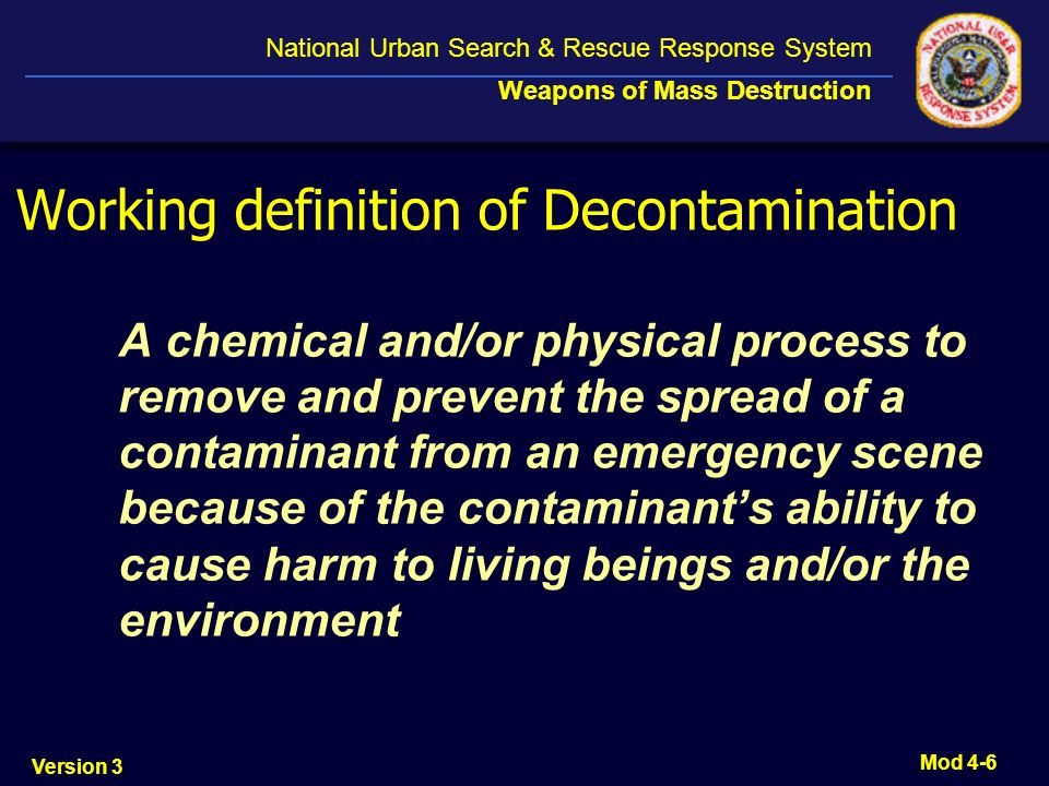 Working definition of Decontamination