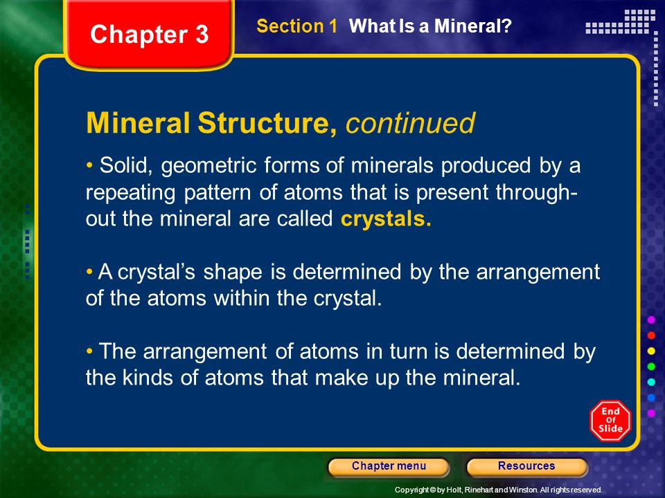 Mineral Structure, continued