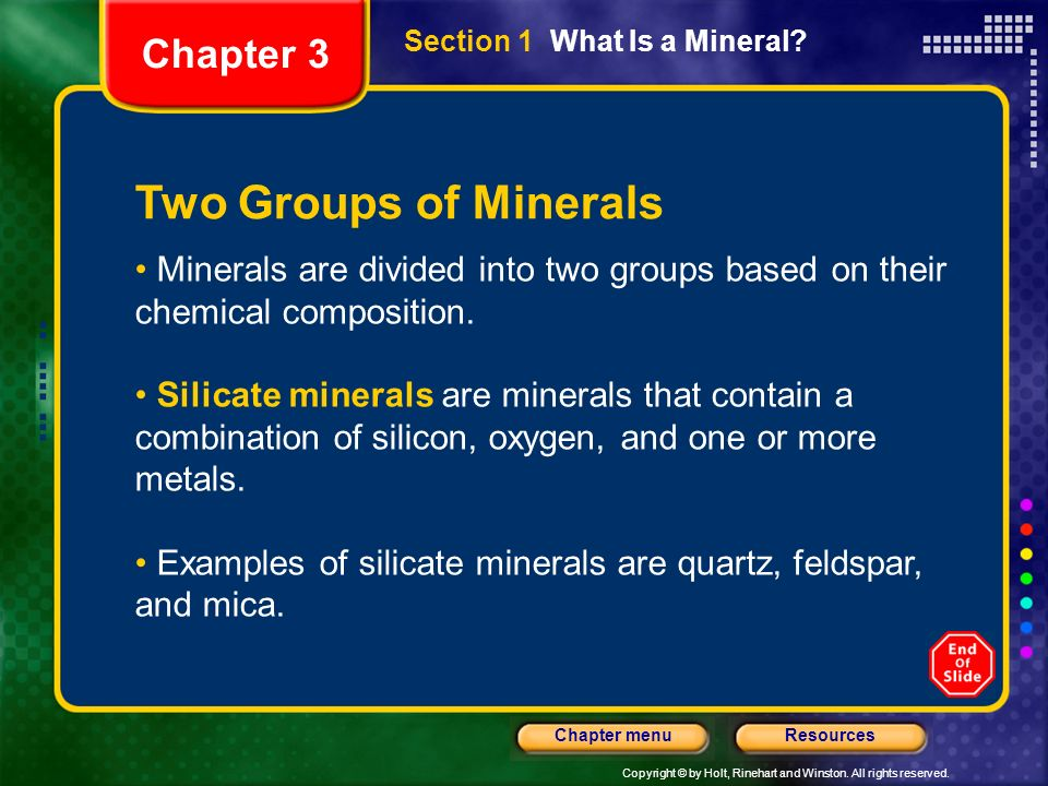 Two Groups of Minerals Chapter 3