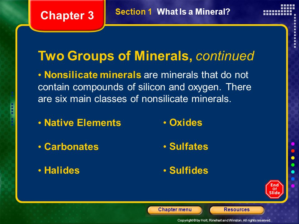 Two Groups of Minerals, continued