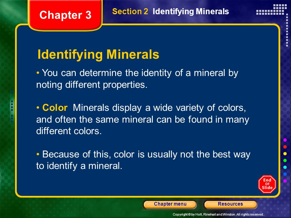 Identifying Minerals Chapter 3