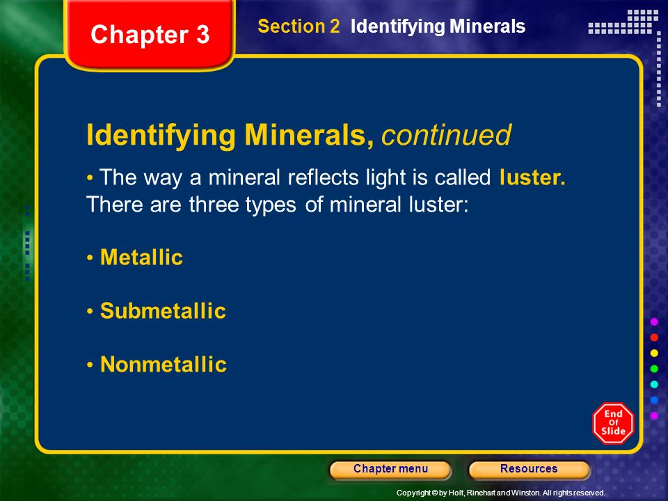 Identifying Minerals, continued