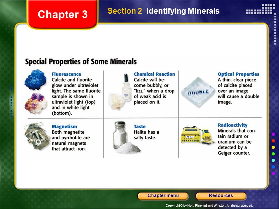 Chapter 3 Section 2 Identifying Minerals