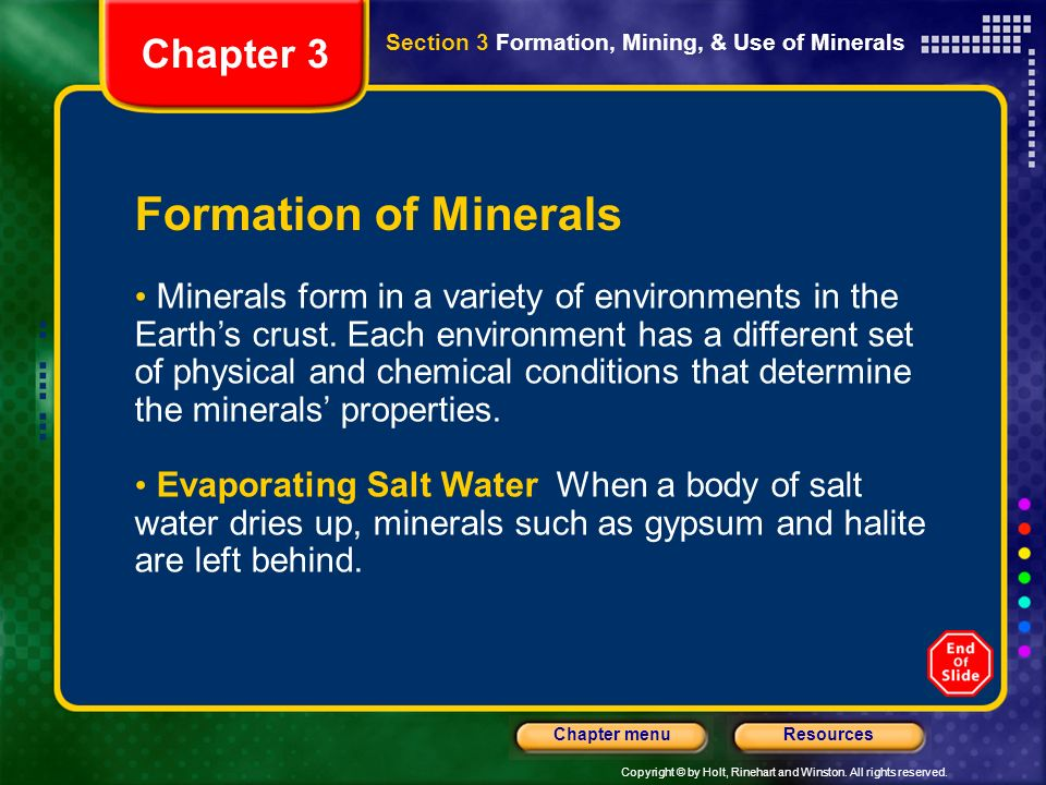 Formation of Minerals Chapter 3