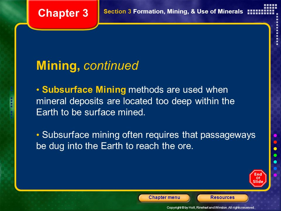 Mining, continued Chapter 3