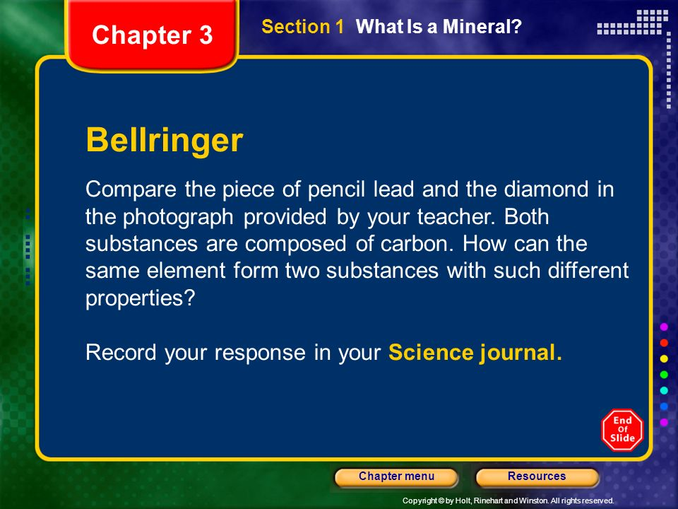 Chapter 3 Section 1 What Is a Mineral Bellringer.