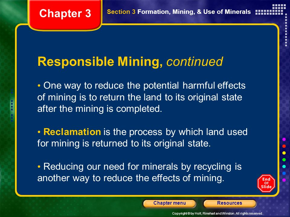 Responsible Mining, continued