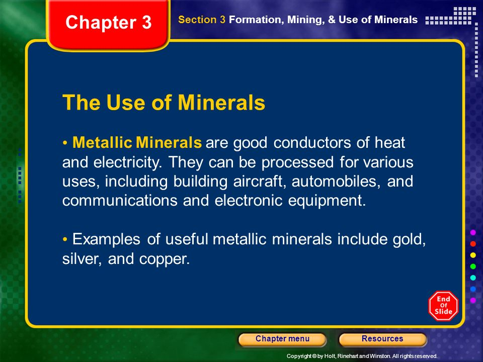 The Use of Minerals Chapter 3