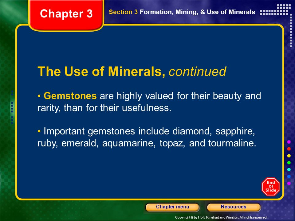 The Use of Minerals, continued
