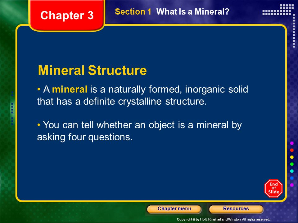 Mineral Structure Chapter 3