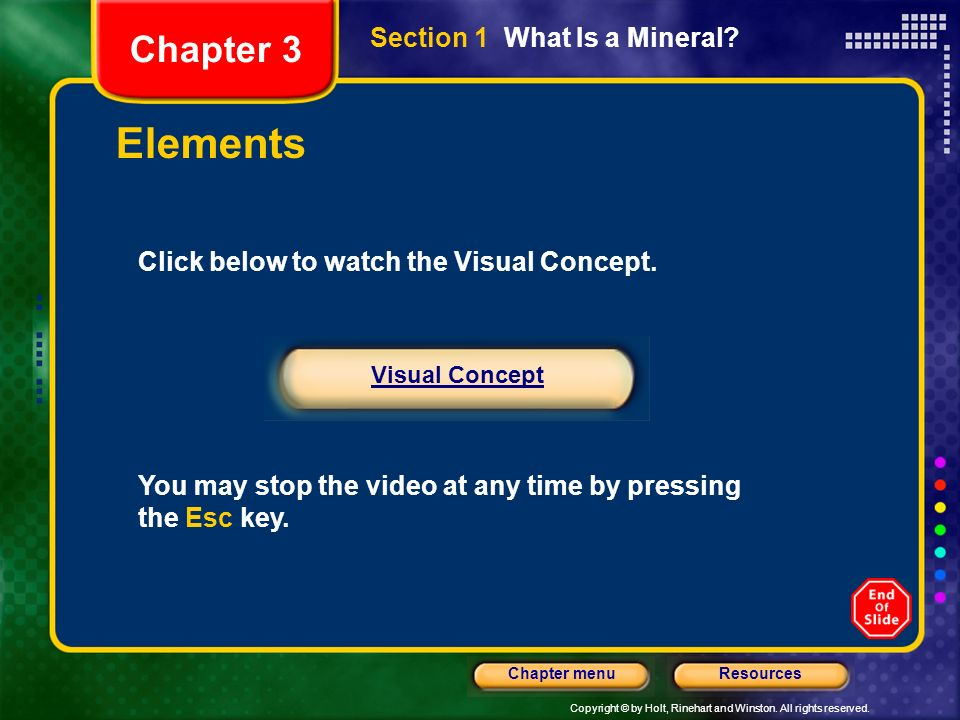 Elements Chapter 3 Section 1 What Is a Mineral