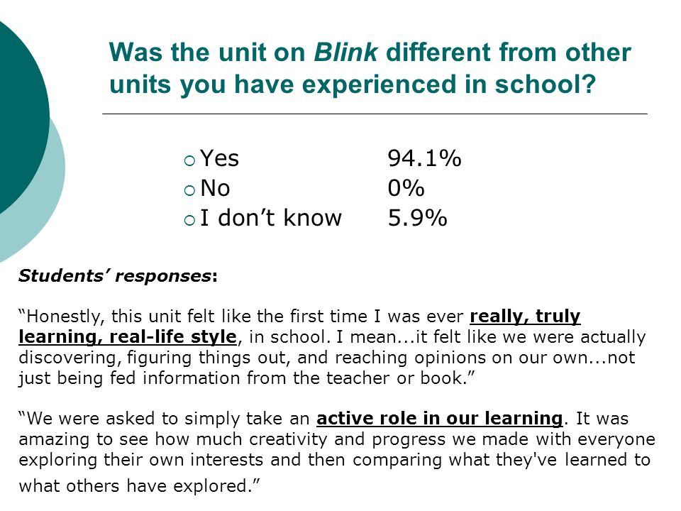 Was the unit on Blink different from other units you have experienced in school