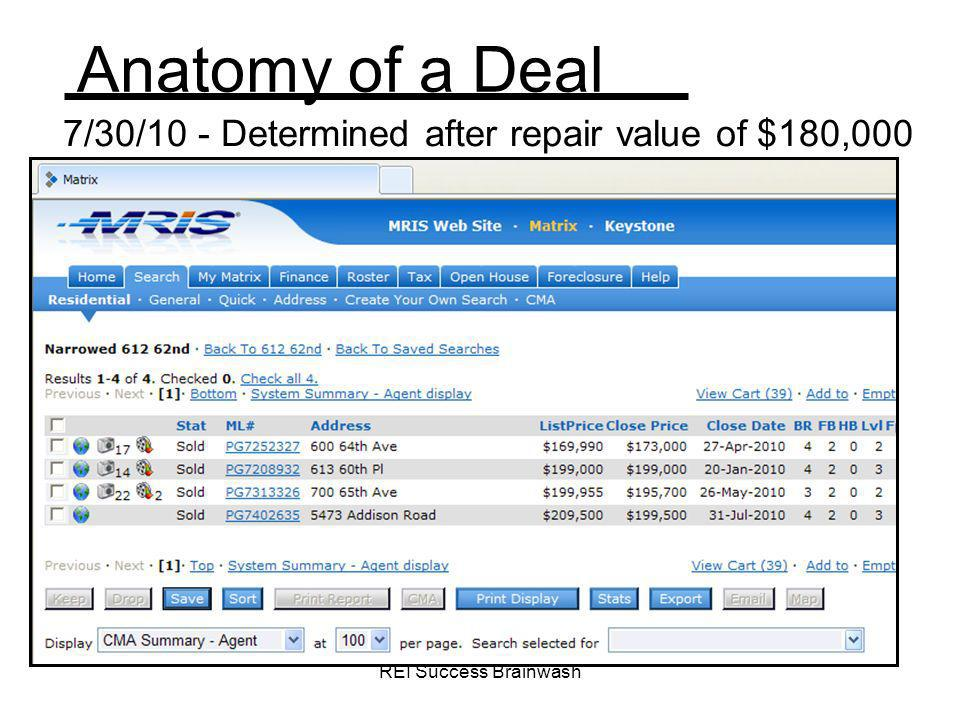 7/30/10 - Determined after repair value of $180,000