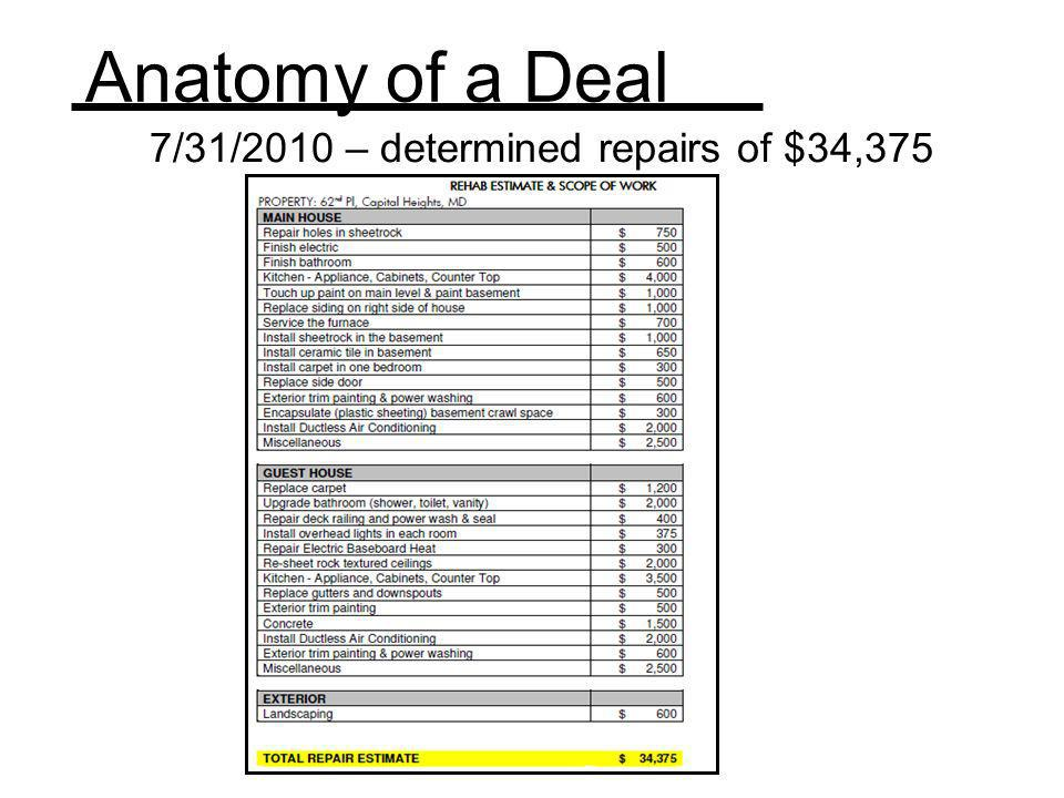 7/31/2010 – determined repairs of $34,375