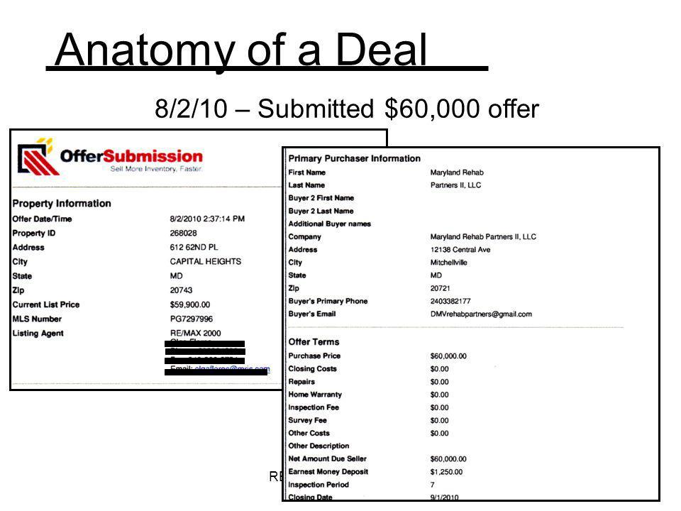 Anatomy of a Deal 8/2/10 – Submitted $60,000 offer
