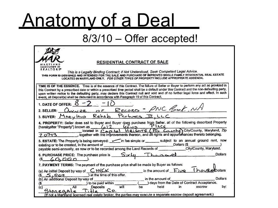 Anatomy of a Deal 8/3/10 – Offer accepted! REI Success Brainwash