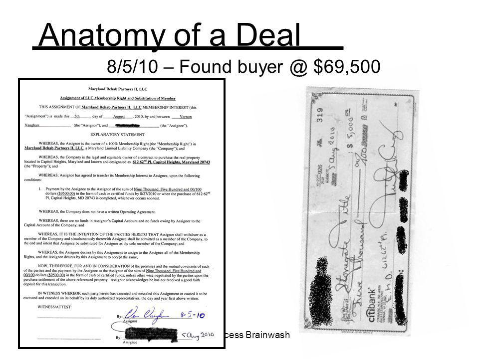 Anatomy of a Deal 8/5/10 – Found buyer @ $69,500 REI Success Brainwash
