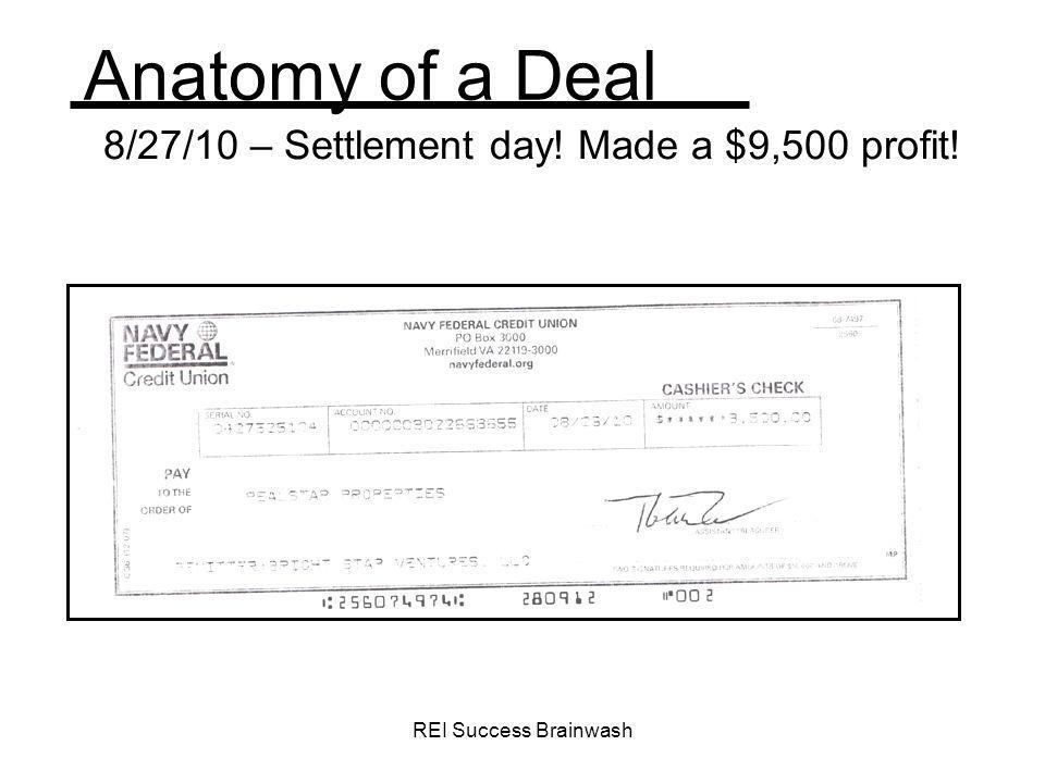8/27/10 – Settlement day! Made a $9,500 profit!