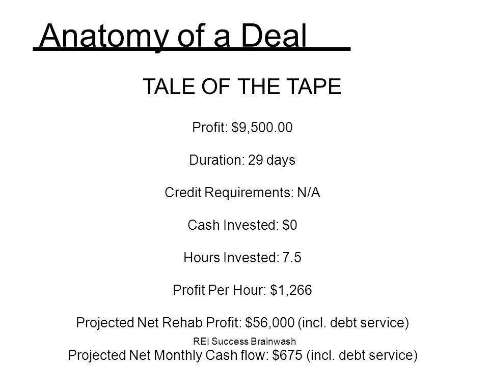 Anatomy of a Deal TALE OF THE TAPE Profit: $9,500.00 Duration: 29 days