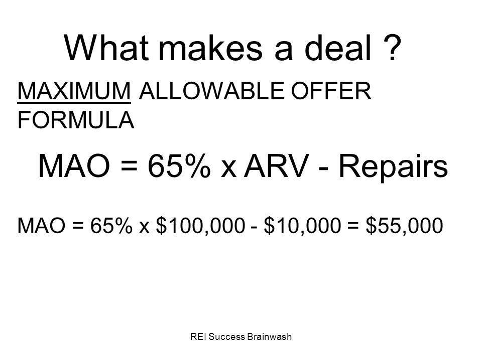 What makes a deal MAO = 65% x ARV - Repairs
