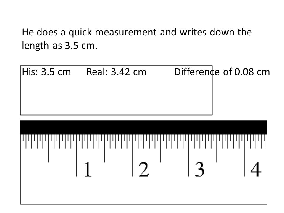 He does a quick measurement and writes down the length as 3.5 cm.