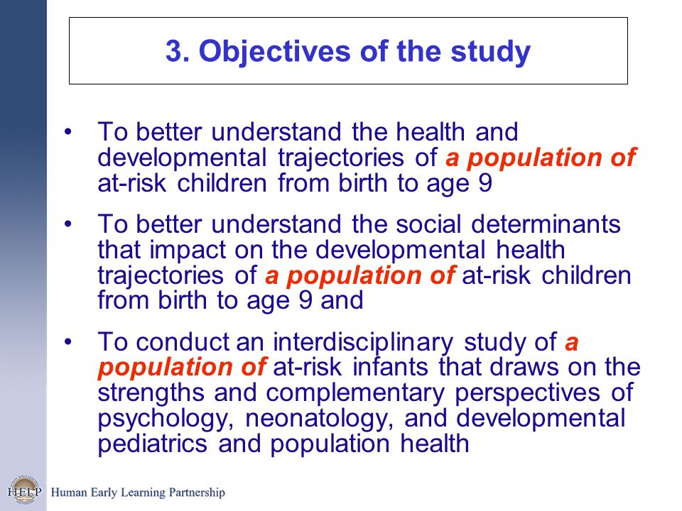 3. Objectives of the study