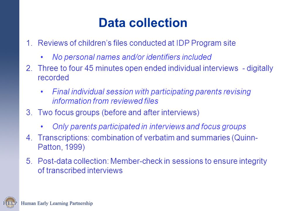Data collectionReviews of children's files conducted at IDP Program site. No personal names and/or identifiers included.